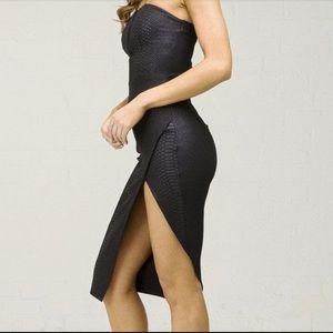 Black snake print dress