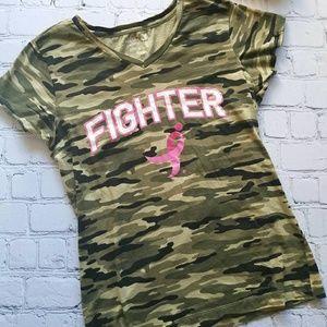 Breast Cancer Awareness Camp Fighter shirt Sz M