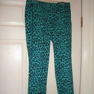 Ann Taylor blue & black leopard pants