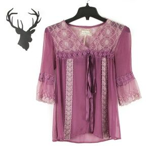 Free People Embroidered Lace Tie Bell Sleeve Top