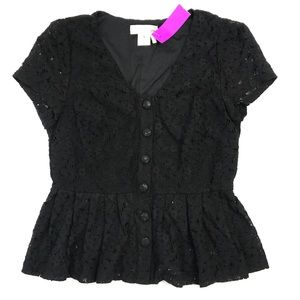 Black Lace Button up Peplum Top