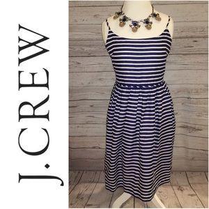 NWT J. Crew Navy White Striped Dress w/ Pockets 14