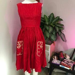 WESTWAY MISS OF DALLAS SZ S RED DRESS VINTAGE