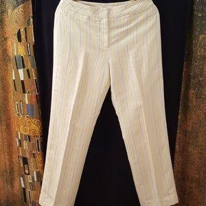 LOFT Pants, Striped, Yellow Stripe Multi, Size 6