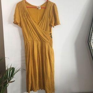 Anthropologie size small mustard yellow moth dress