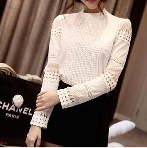 Long sleeve, lace, crochet shirt/ blouse