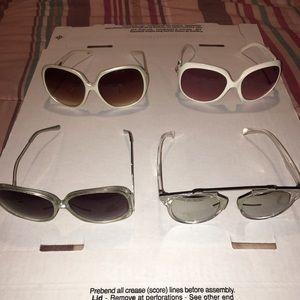 Lot of 4 sunglasses white silver oversized