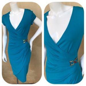 Cache Aqua Short Sleeve Faux Wrap Dress