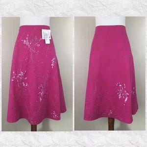 Cadi & Blu Hand Beaded A-Line Midi Skirt
