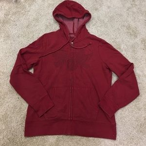 Lucky Brand red full-zip hooded sweatshirt