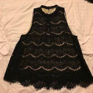 Black Lace Sleeveless Top