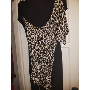 Cheetah blouse with one half sleeve