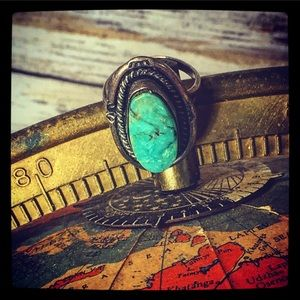 Vintage Navajo 40's Old Pawn Turquoise Ring size 8
