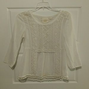 Beautiful Maeve beaded ivory boho top from Anthro