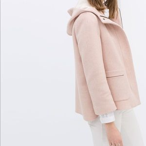 Zara blush hooded zip up coat medium