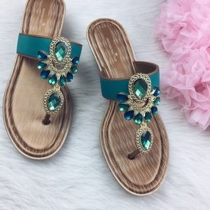 Montego Bay Club teal turquoise jeweled sandals