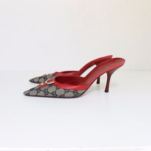 Gucci Monogram Canvas and Leather High Heel Mules
