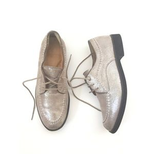 Hush Puppies Suede Leather Silver Metallic Oxfords