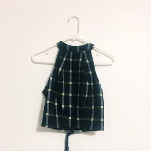 As If! Navy Plaid Crop Top Size XS
