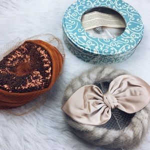 Vintage fur hats - union made - veils included