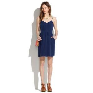Madewell Blue Silk Cami Dress