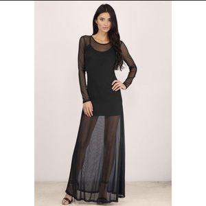 Black Mesh Maxi Dress