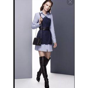 Kaylin Lace Blocked Striped Shirt Dress