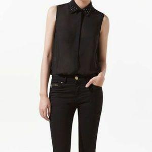 Zara Basic black sleeveless blouse, studded collar