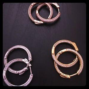 Diamonique 1'' hoop earrings.