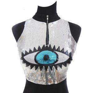 Sequin Evil Eye Crop Top