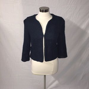 Forever 21 Navy and Metallic Textured Open Blazer