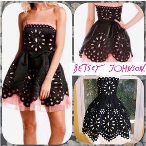 💋🎀 Pastel Pink and Black Doily Eyelet Dress 🎀💋
