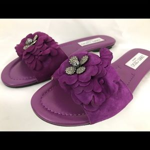 Jimmy Choo Neave Flat Purple Suede Slide Floral
