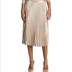 Chaps Metallic Faux-Suede Pleated Skirt NWT