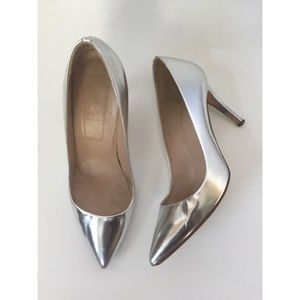 J.Crew Everly Mirror Metallic Silver Leather Pumps