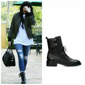 ZARA KYLIE JENNER LEATHER ARMY BOOTS
