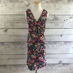 Gap Cotton Floral Shift Dress with Ruffle Trim