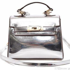 Metallic Silver mirror handbag,