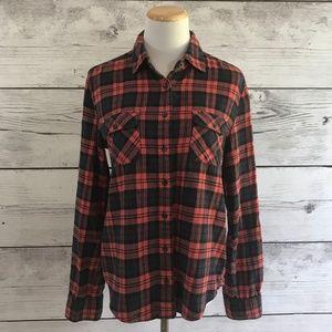 BDG Orange & Navy Plaid Flannel Button Down Shirt