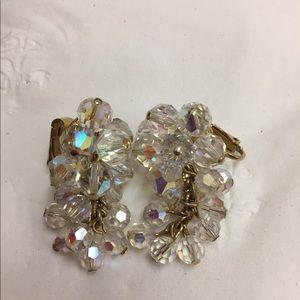 Clear Glass Cluster Beaded Clip Earrings