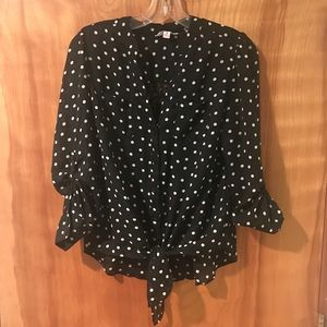 Candies for Kohl's Polka Dot Tie Front Shirt Top