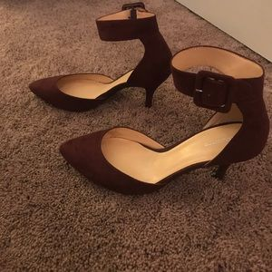 Burgundy suede heels with ankle straps
