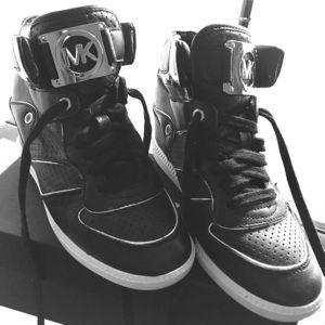 Michael Kors Black Wedge Sneakers