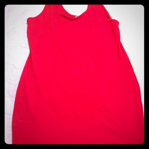 Scoop neck cotton red dress