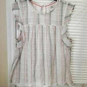 100% Woven Cotten Ruffled Blouse in Light Plaid