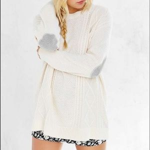 BDG Oversized Cream Elbow-Patch Sweater