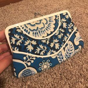 Vera Bradley Blue and White Print Clutch Wallet