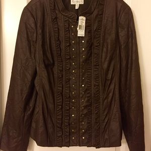 Faux Leather Jacket With Fun Detail