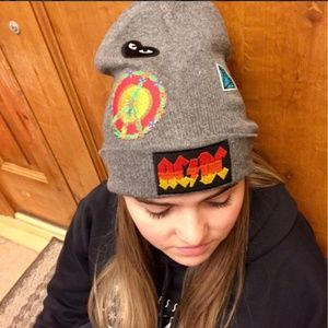 Patched Beanie,  Gray ACDC, Peace, Hippie, Grunge