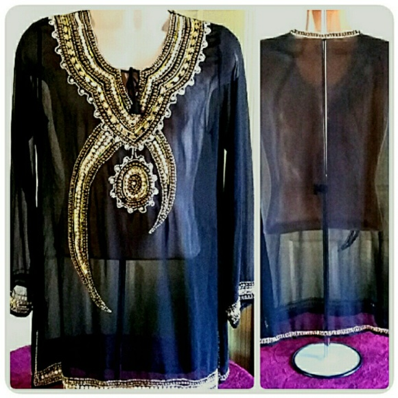 Tops - Beaded Black Tunic Top 3X Fits Like Size 14/16